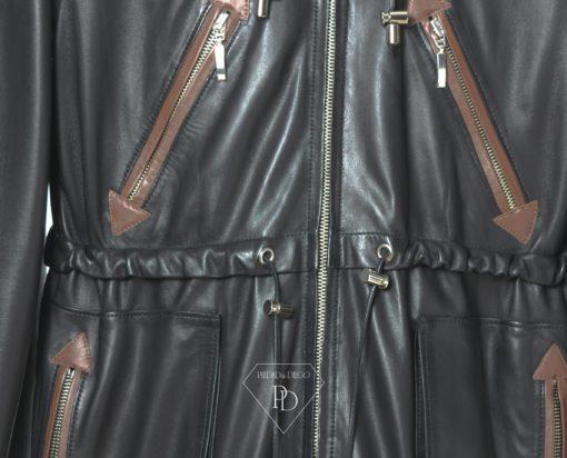 Chaqueta de Cuero Negro Combi