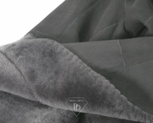 Abrigo Corto Piel Vuelta Grey