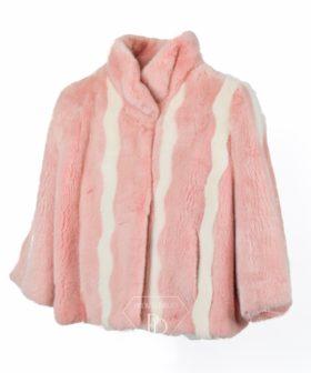 Chaqueta de visón en color rosa y blanco