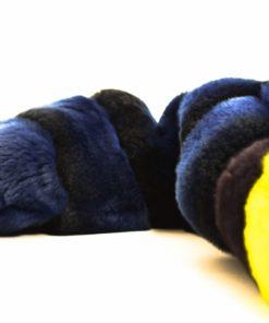 Chaqueta de piel en Rex Reversible azul y amarillo