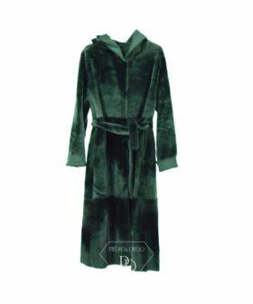 Abrigo de cordero reversible con su cinturon y capucha en color oliva