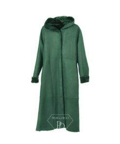abrigo de cordero reversible con capucha y cinturon