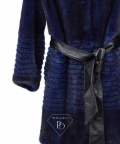 Abrigo Visón sin cuello - Abrigo piel visón Azul