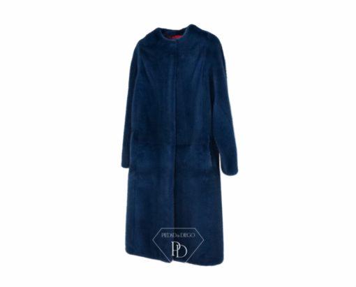 Abrigo de Visón sin cuello en Azul - Abrigo de Visón