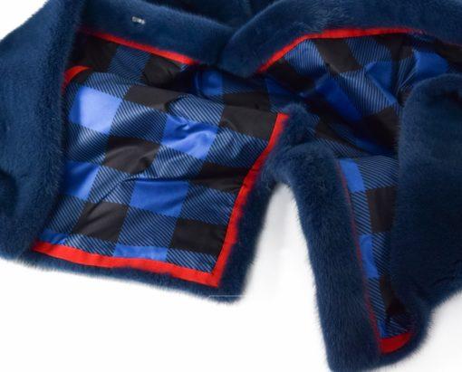 Abrigo de Visón sin cuello en Azul - Abrigo de piel de Visón