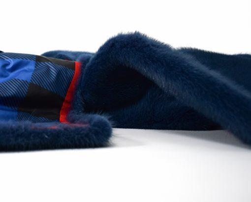 Abrigo de Visón sin cuello en Azul, Abrigo de piel de Visón