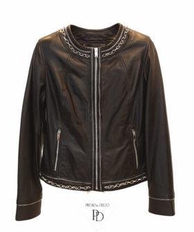 chaqueta de piel mujer negra