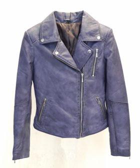 cazadora piel mujer biker azul