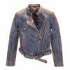 chaqueta piel cuero mujer biker azul