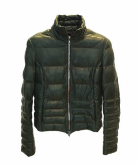 chaqueta de piel mujer acolchada en color oliva